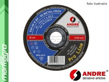 Řezný kotouč plochý - 115 mm x 1,6 mm x 22,2 mm, PRO-LINE verze METAL+INOX, TYP 41 - ANDRE (010019)