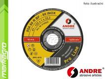 Řezný kotouč plochý - 125 mm x 1 mm x 22,2 mm, PRO-LINE verze INOX, TYP 41 - ANDRE (010025)