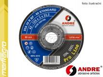 Řezný kotouč vypouklý - 115 mm x 3 mm x 22,2 mm, PRO-LINE verze STANDARD, TYP 42 - ANDRE (020096)