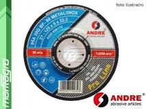 Brusný kotouč vypouklý - 125 mm x 6 mm x 22,2 mm, PRO-LINE verze METAL+INOX, TYP 27 - ANDRE (010172)