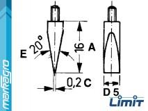 Vyměnitelný měřící dotek plochý pro číselníkové úchylkoměry 16 mm, 20° - LIMIT (5318-1202)